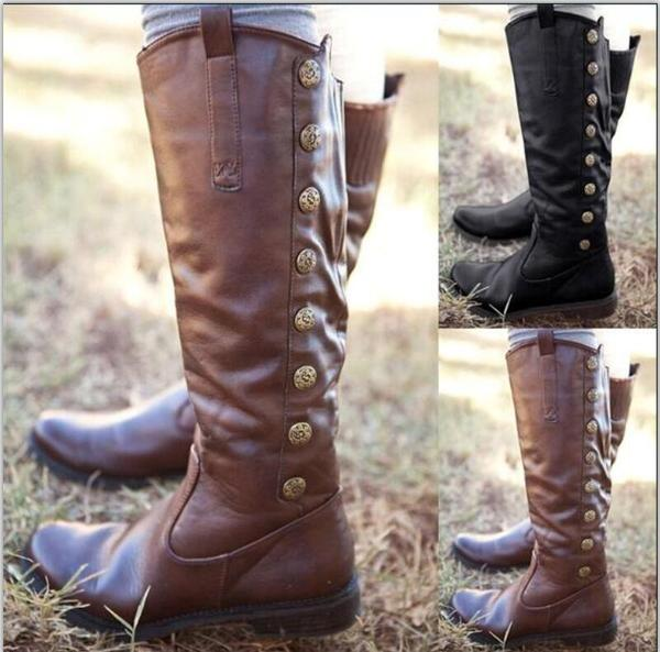 Shoes - Women's Fashion Warm Knee High Leather Boots – Kaa
