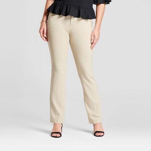 Women's Bootcut Curvy Bi-Stretch Twill Pants - A New Day™ Khaki 4 .