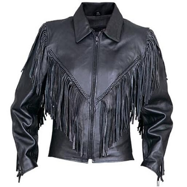 Allstate Shirt Collar Womens Leather Motorcycle Jacket with Fring