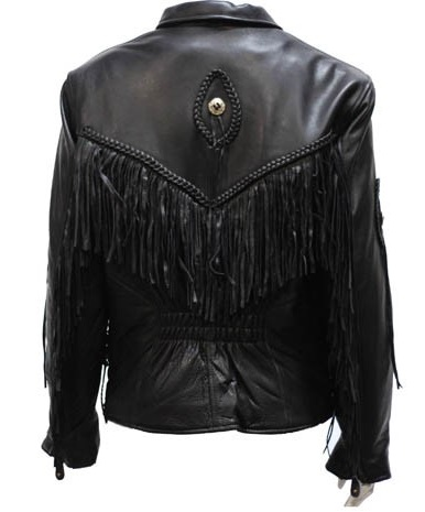 Women's Fringe Leather Motorcycle Jacket with Braid & Conch