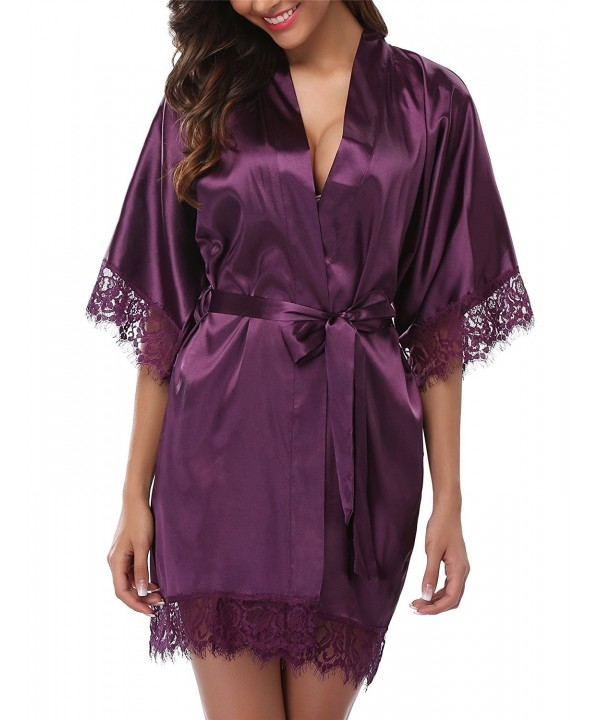 Women's Lace Trim Kimono Robe Nightwear Nightgown Sleepwear Satin .