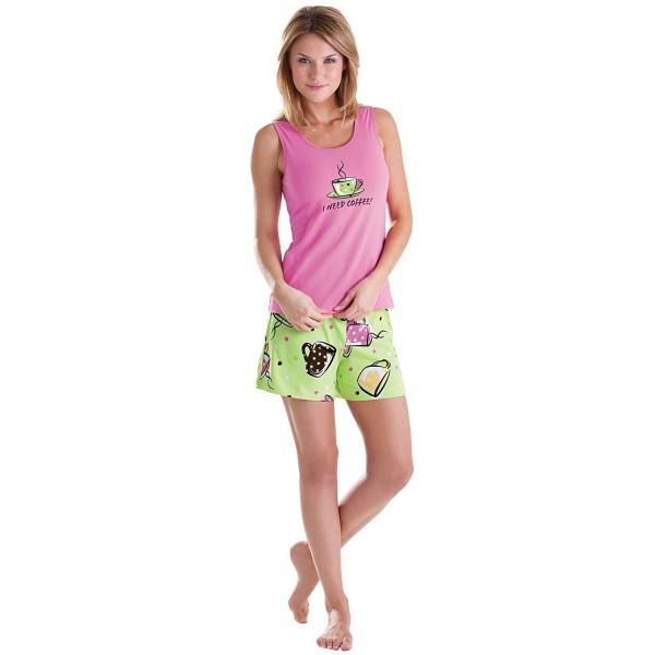 I Need Coffee Cotton Women's Short Set Pajamas- Green - Green .