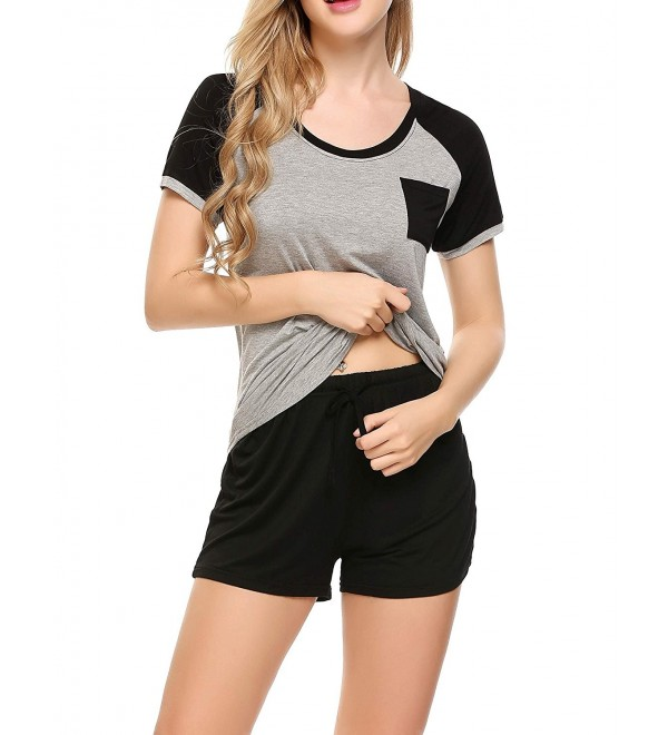 Women's Pajamas Short Sleeve PJ Set Modal Round Neck Sleepwear S .