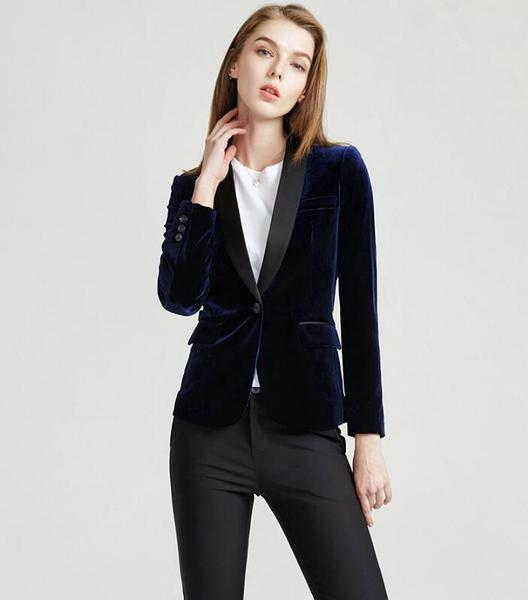 Velvet Black fashion korean style women suit office suit womens .
