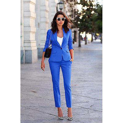 Royal Blue Womens Business Pant Suits Ladies Trouser Suits Female .
