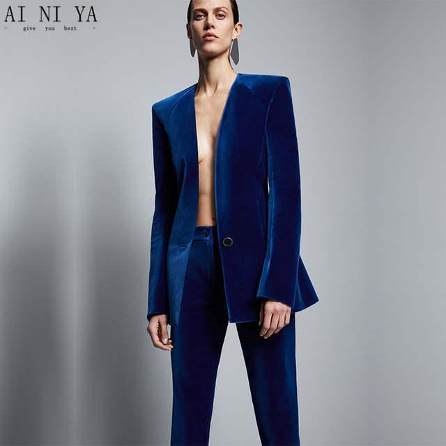 Royal Blue Velvet Jacket+Pants Formal Elegant Pants Suit Womens .