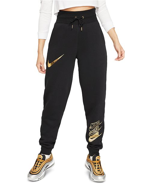 Nike Women's Sportswear Shine Metallic Logo Sweatpants .