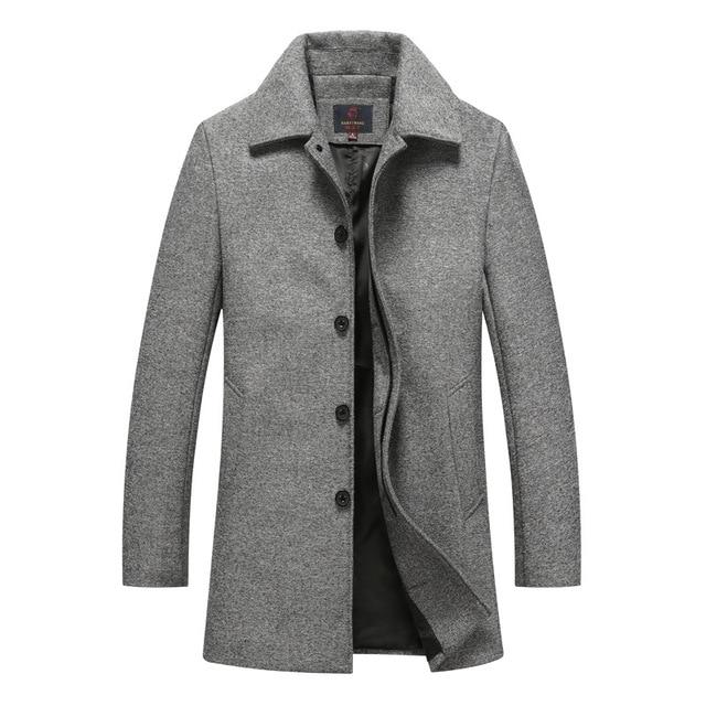 Autumn Winter Single Breasted Woolen Coats Mens Wool Jackets Turn .