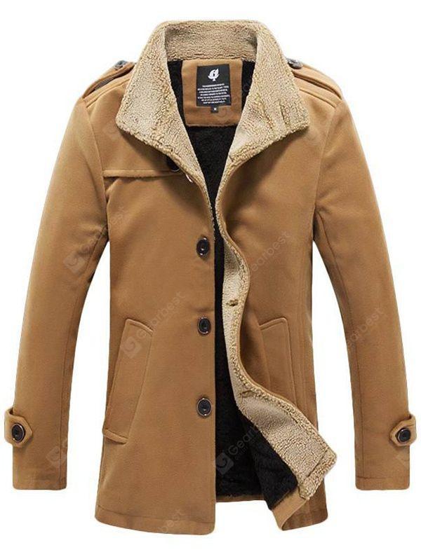 Men's Warm Lamb Wool Jacket Autumn Winter Mid-length Overcoat Sale .