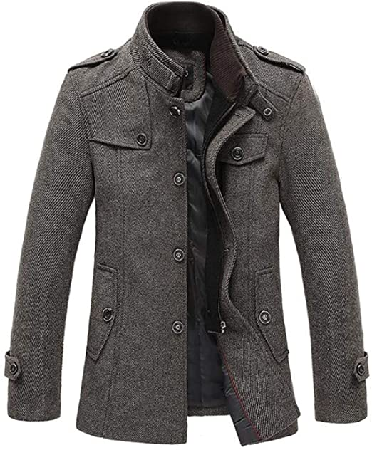 Jackets Men Wool Jacket Men's Slim Fit Thickening Winter Coat Men .