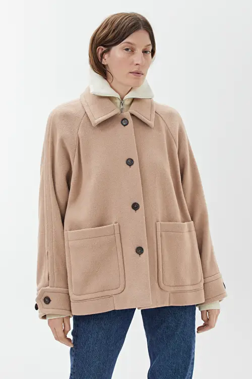 Overshirt-Style Wool Jacket - Beige - Jackets & Coats in 2020 .