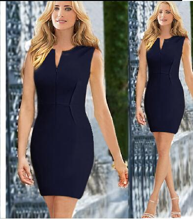 2020 Simple Work Dresses Pure Color Dresses Front Zipper .