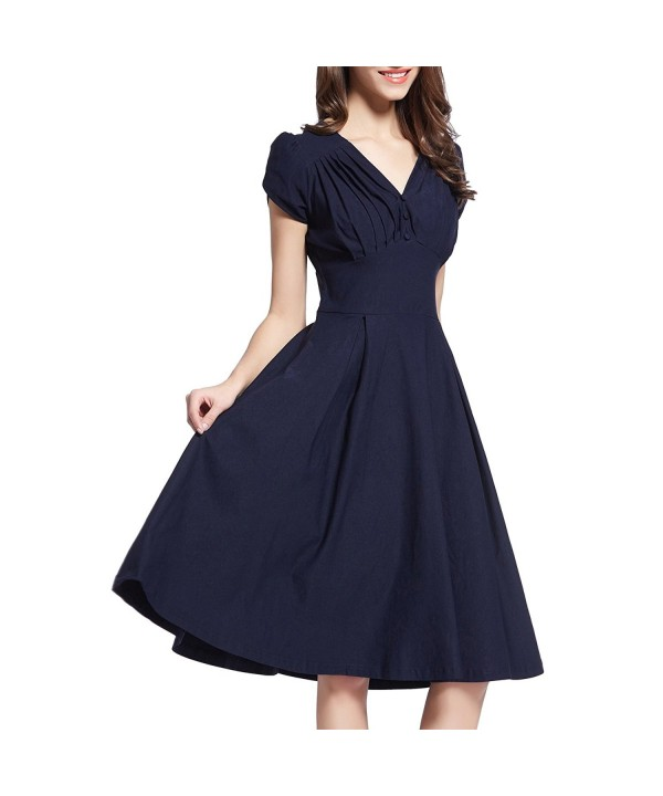 Women's 50s V Neck Rockabilly Skaters Flared Swing Party Work .