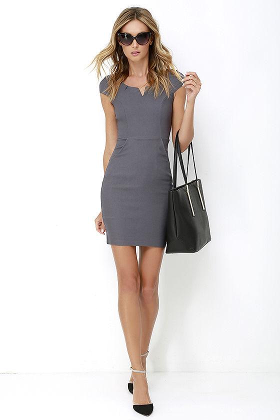 Cute Grey Dress - Bodycon Dress - Office Dress - $35.