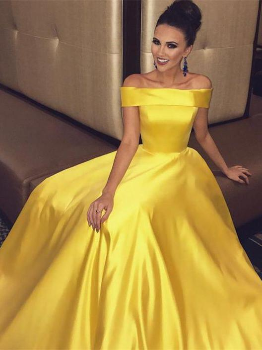 Simple Prom Dresses Yellow A-line Off-the-shoulder Cheap Long Prom .