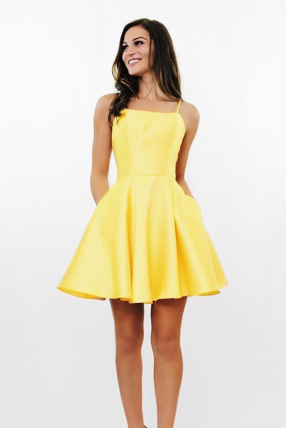 Delightful Surprise Yellow Skater Dress, Homecoming Dresses yellow .