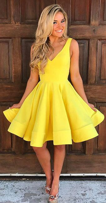 Cute Homecoming Dresses,V Neck Homecoming Dresses,Yellow .