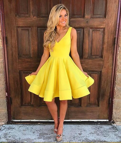Cute yellow v neck short prom dress, yellow homecoming dress .