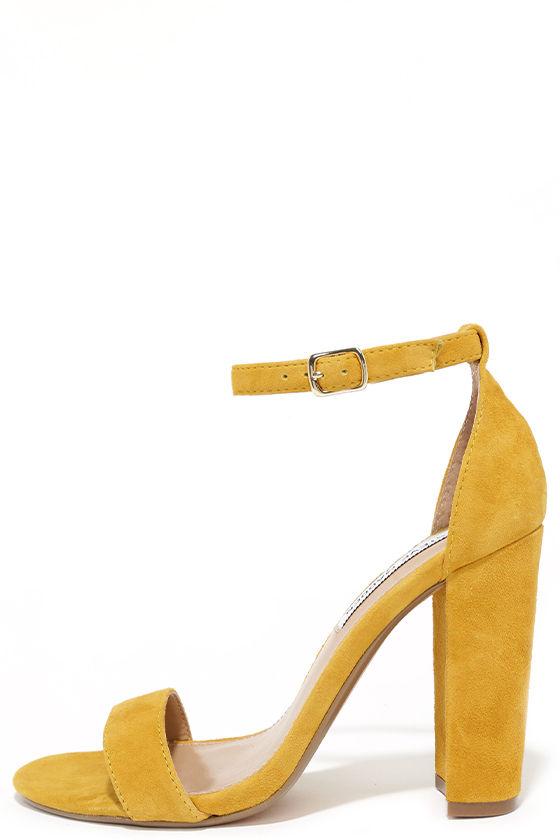 Cute Yellow Heels - Suede Heels - Ankle Strap Heels - $89.