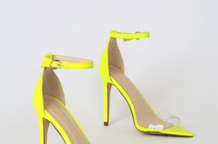 Trendy Neon Yellow Heels - Ankle Strap Heels - Pointed-Toe Sand