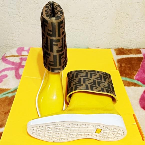 FENDI Shoes | Yellow Rubber Rain Boots | Poshma